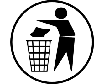 stick figure tossing garbage into can
